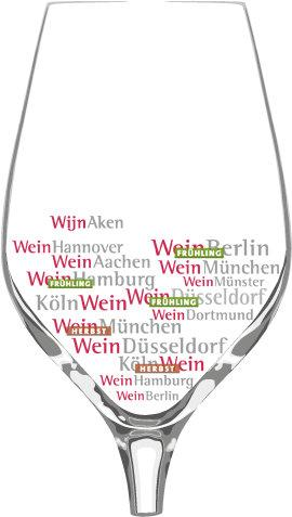 Graphic of a wine glass with the names of all Weber events.